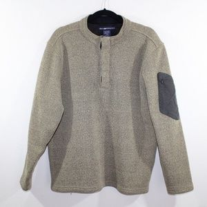 Exofficio Men L T-Snap Hiking Fleece Sweater Brown
